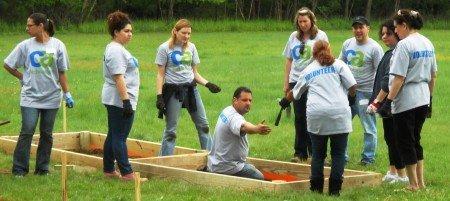 CA Volunteers building raised vegetable beds